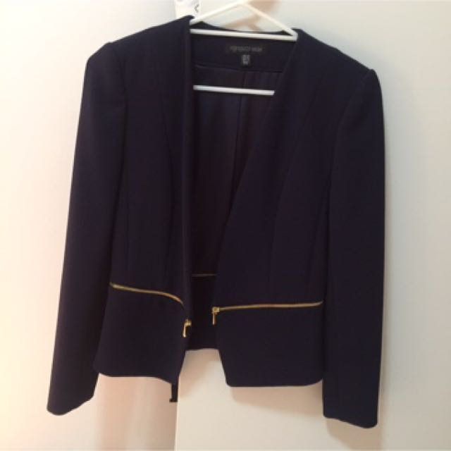 forever new zip crop blazer