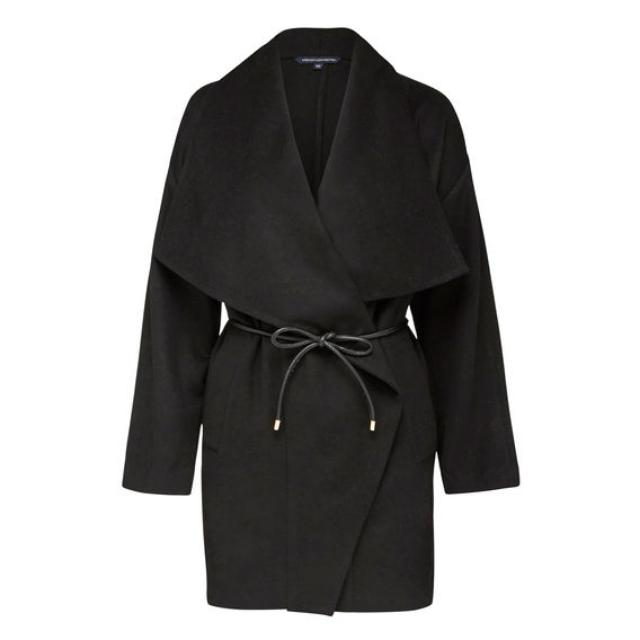 French Connection Leather Belted Coat