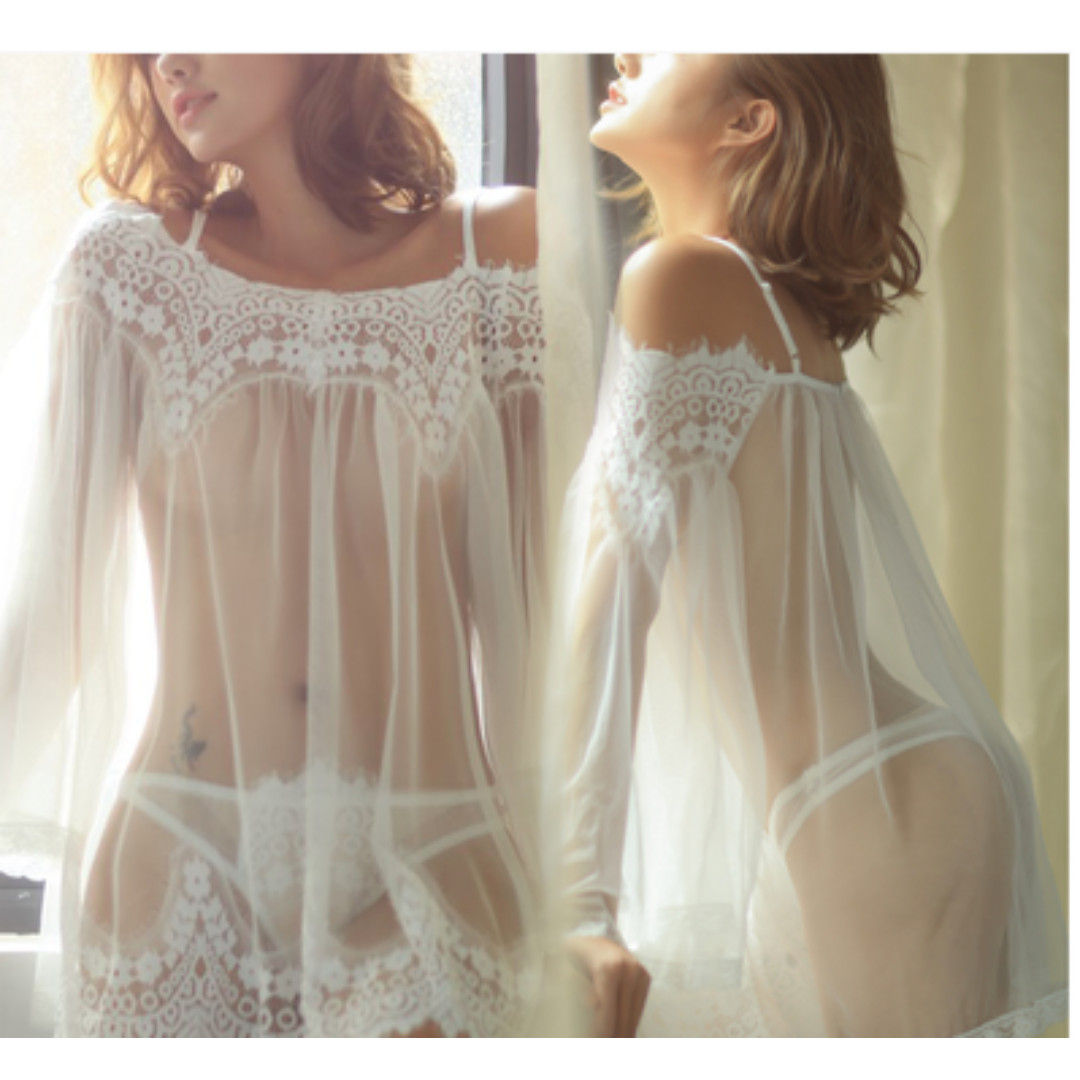 15bc53eae1b Instock  Camisole See Through Lace Lingerie Set