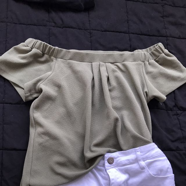 Khaki Green Off the shoulder top