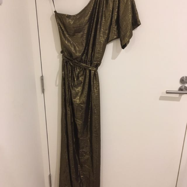 Leona Edmiston One Sleeve Gold And Black Formal Dress/Gown
