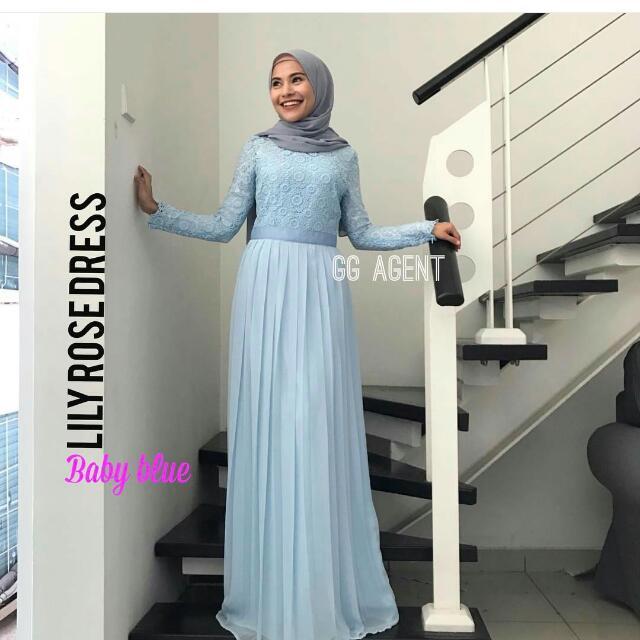 Light Blue Lace Maxi Dress Womens Fashion Muslimah