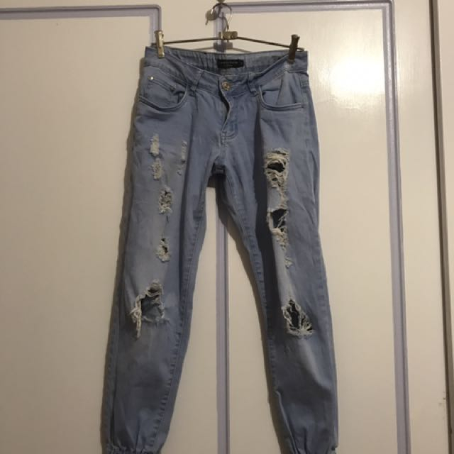 Low Rise Ripped Blue Jeans