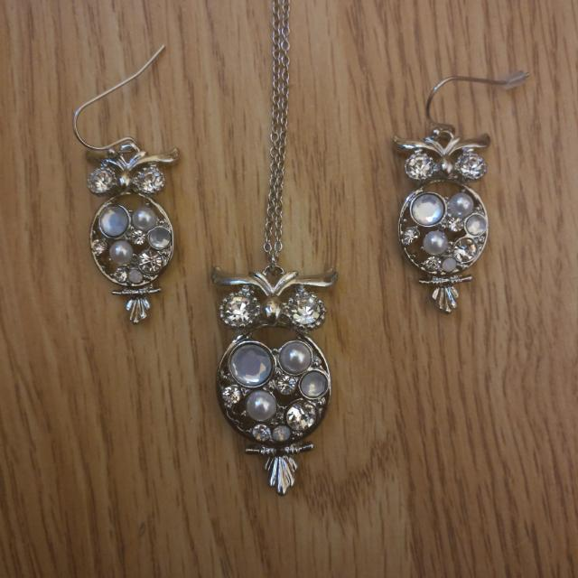 Matching Owl Earrings And Necklace