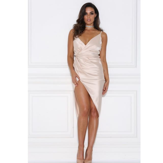 MESHKI Sasha Satin Wrap Dress