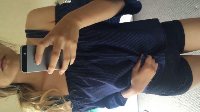 Mirrou Blue Pinstripe Bardot Top