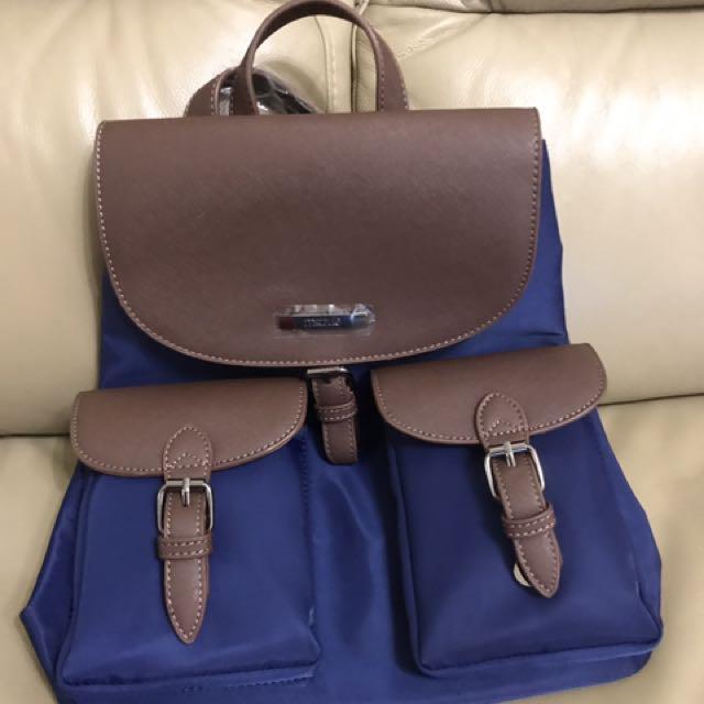 Mizzue藍色拼接尼龍翻蓋前口袋後背包