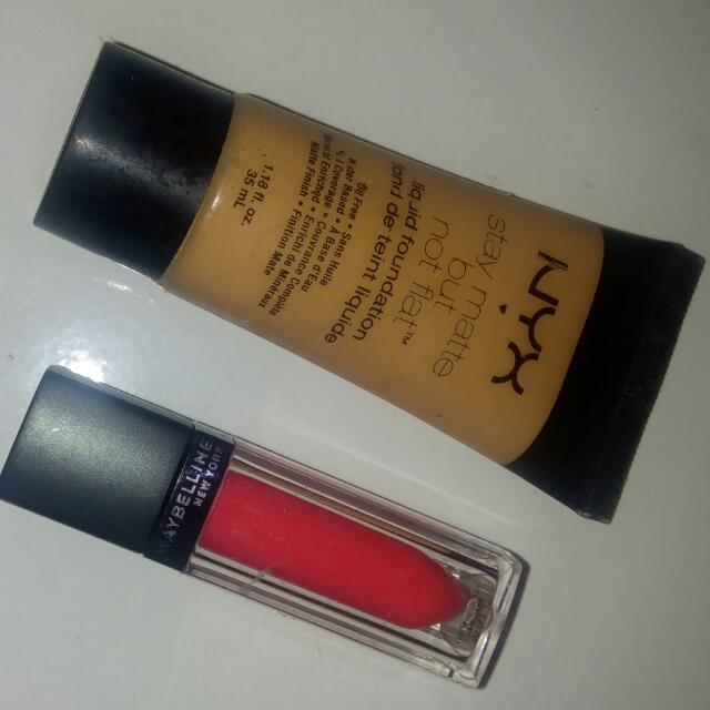 Nyx Liquid Foundation & Maybelline Vivid Matte