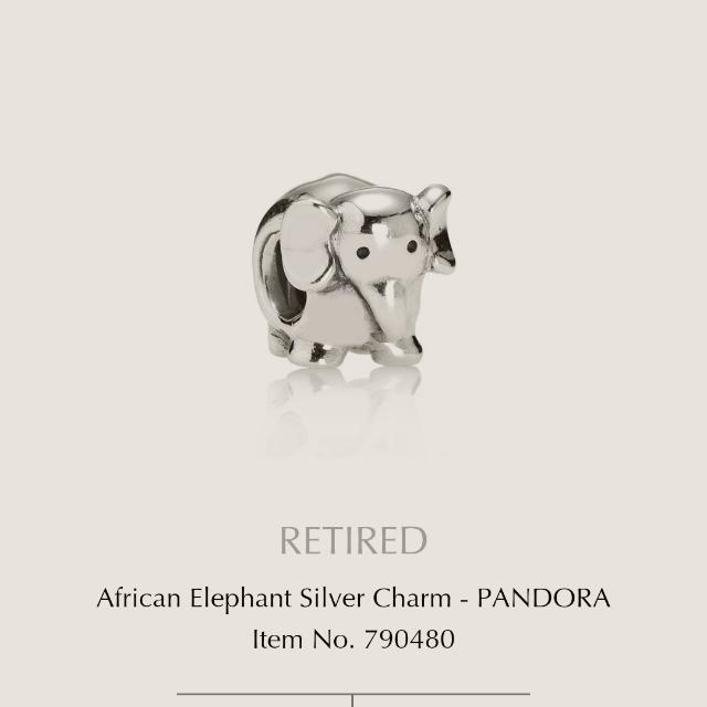 Pandora Charm African Elephant Silver Retired