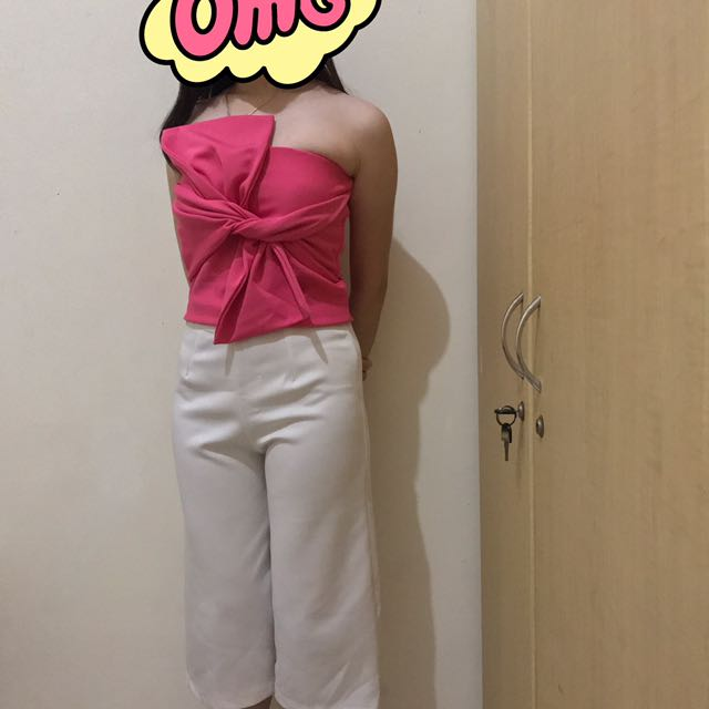 Pink Bandage Top & White Cullote