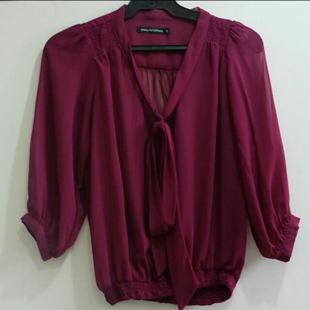 REPRICED PURPLE SHEER TOP w/ RIBBON