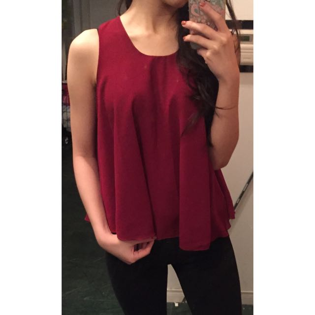 Red Chiffon Tank With Straps At The Back