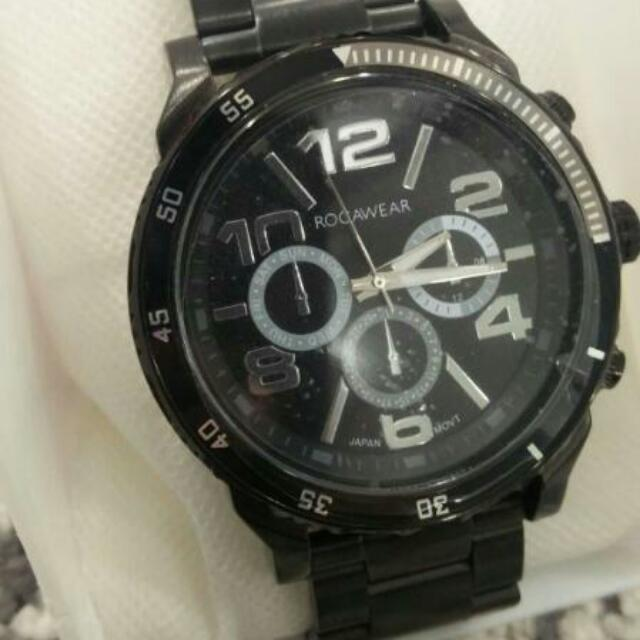 Rocawear Mens Watch Rm0251 Black Dial With Stainless Steel Band