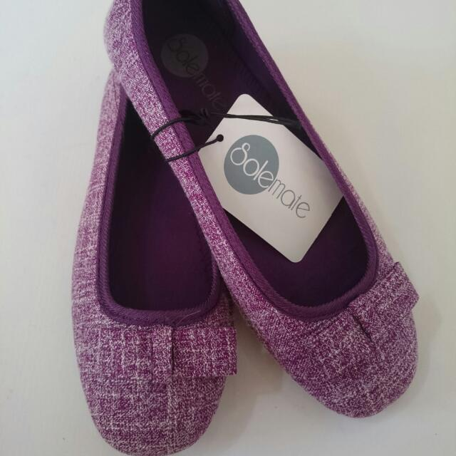 SALE 50% Off Brand New Size 7 SOLEMATE VIOLET / PURPLE / FLATS / FLAT / DOLL SHOES LADIES / WOMENS NYX 7 BOW