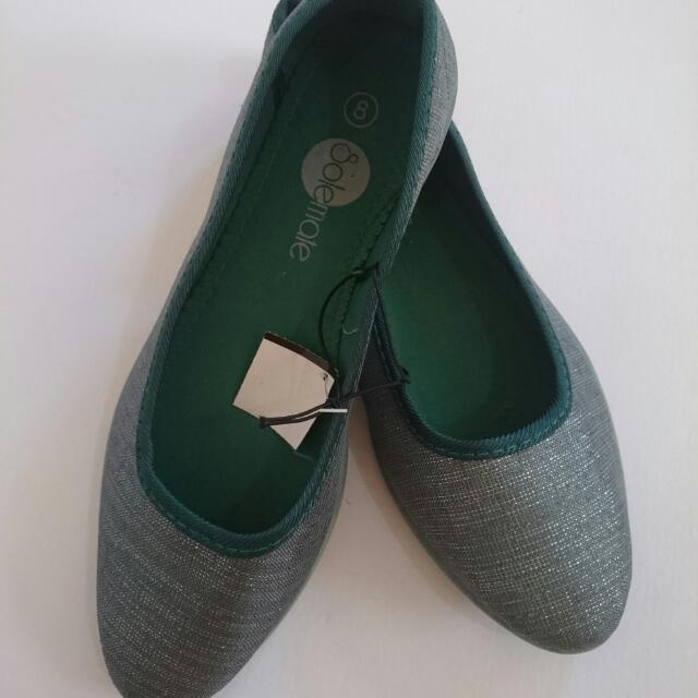 SALE 50% Off Brand New Size 8 SOLEMATE  / GREEN / SILVER / SILVERY / FLAT / DOLL SHOES / LADIES  / GIRLS / WOMENS / SHOE