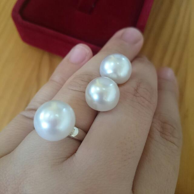 SALE White South Sea Pearls Earrings And Ring Pearl Set LAYAWAY OK