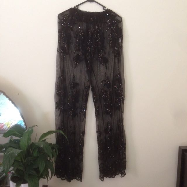 SHAKUHACHI BEADED SEQUIN FLORAL STITCH SHEER PANTS