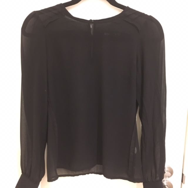 Sheer Black Long Sleeve Top With Raw Detailing