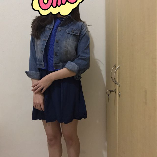 Short-crop Denim Jacket/ Polcadot Dress