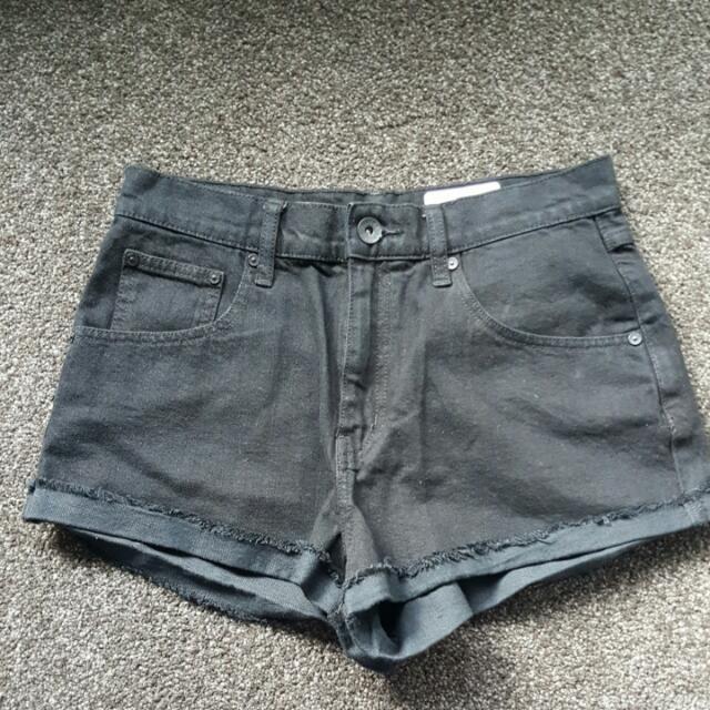 Silent Theory Black Denim High Waisted Short Shorts