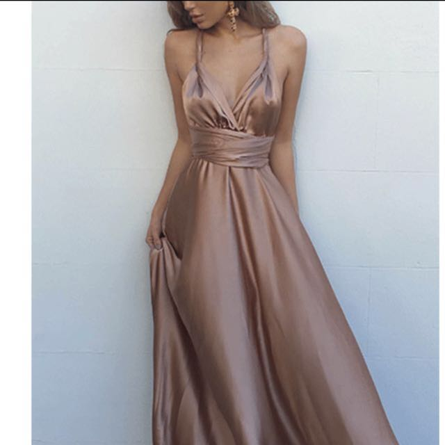 silk champagne dress