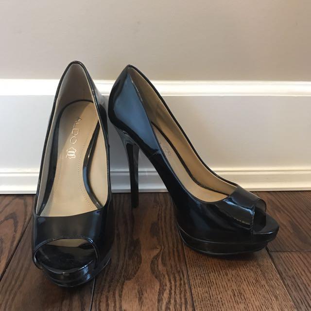 Size 37 Aldo Black Open Toed Heels