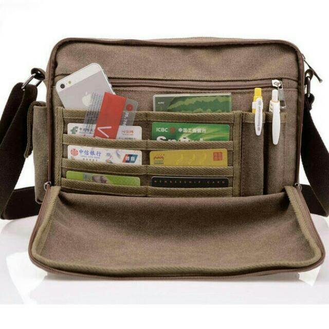 Tas Salempang Ada Busa Aman Tablet / Ipad Kanvas Import Premium BA6661
