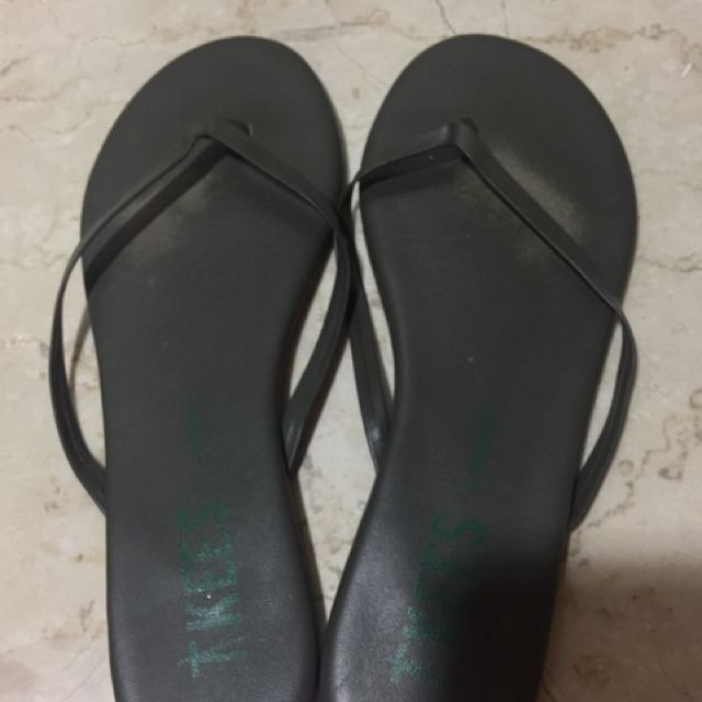 TKEES Dark Green Leather Flip Flop