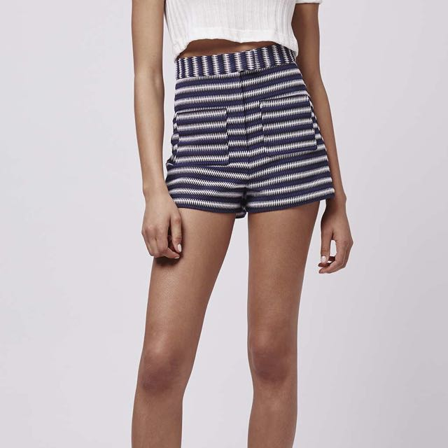 Topshop striped high waisted shorts