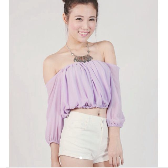 b1294d13d98b64 ~TTR CLEARANCE~ Off Shoulder Top In Lilac, Women's Fashion, Clothes, Tops  on Carousell