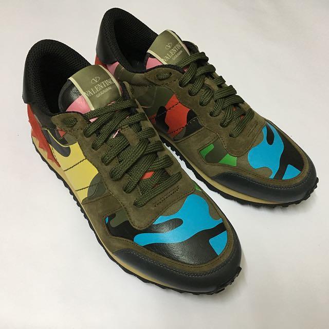 9717a1dc2607a Valentino Garavani Rockstud Camo Canvas   Leather Sneakers BV