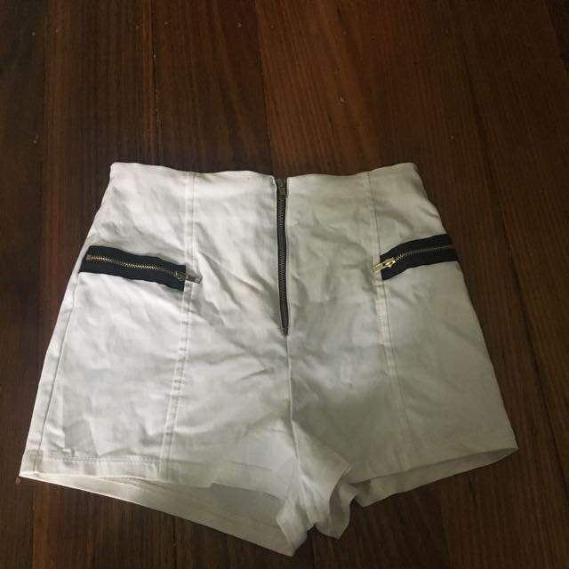 White High Waisted Booty Shorts