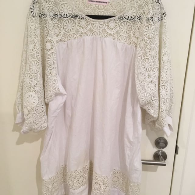 White Lace Baby Doll/Smock Dress