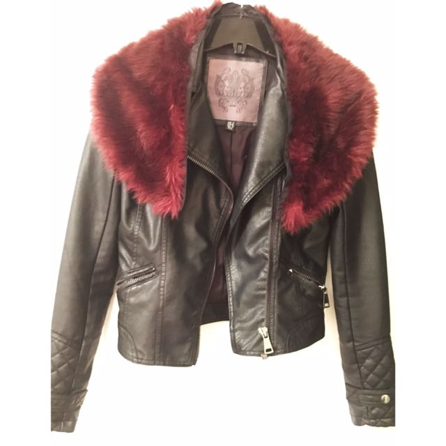 XS Leather Coat with Removable Fur Collar