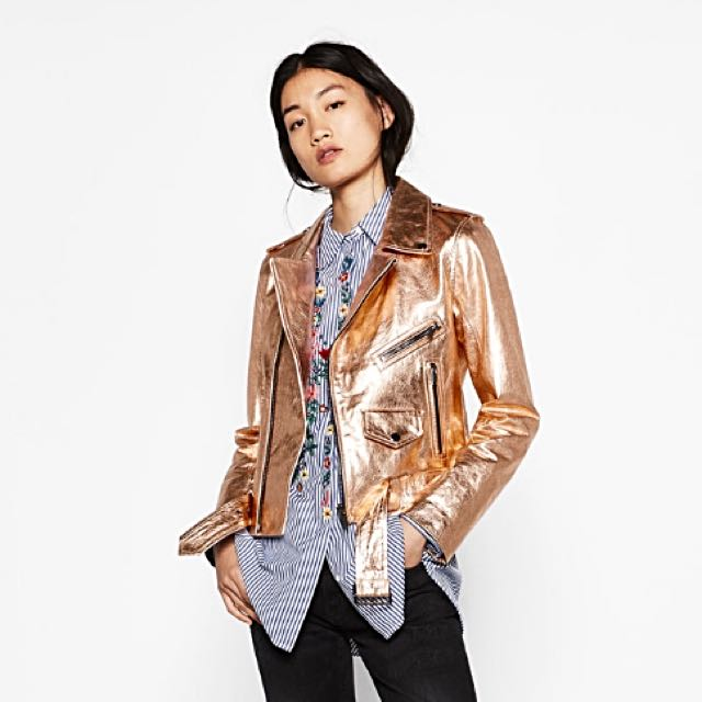 BNWT Zara metallic leather jacket