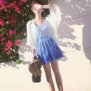 漸層水藍洋裝+外套💗