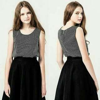 【全新轉賣】Pazzo知性風黑白格子兩件式套裝(無袖背心+短褲)