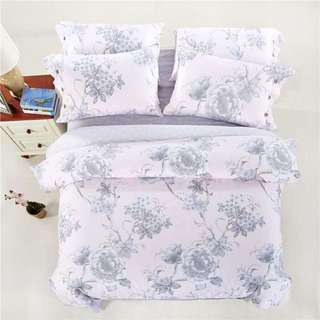Brand New Cotton Duvet Set In Pink & Gray