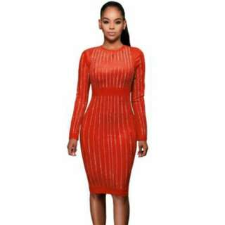 Orange Suede Studded Dress (Available In Large Only)