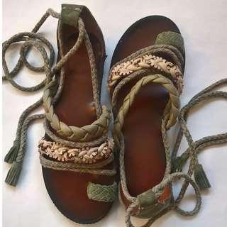 Anthropologie wrap around leg, suede, multi straps, kaki sandals, size8