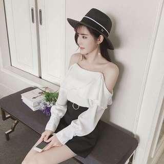 【實拍】女裝韓版燈籠袖荷葉邊一字領吊帶雪紡衫女士露肩上衣