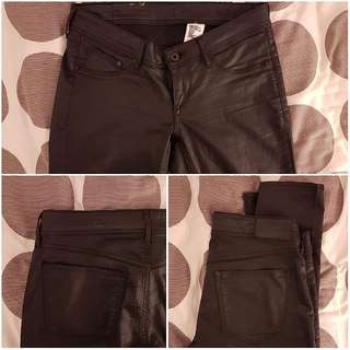 H&M Leather Look Super Skinny Pants, Low Rise, SIZE 28 Length 34