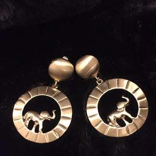 Vintage 古著金屬小象🐘🐘夾式耳環