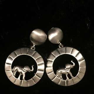 Vintage 古著金屬「銀色」小象🐘🐘夾式耳環