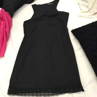 Elegant Semi Tight Black Dress