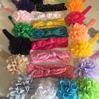 Knot And Large Flower Baby Headbands