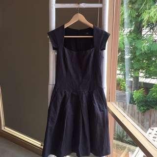 Cue Charcoal Grey Skater Dress Sz 8 EUC
