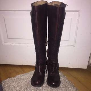 Gee WaWa Handmade Brown Leather Knee high Boots Size 7