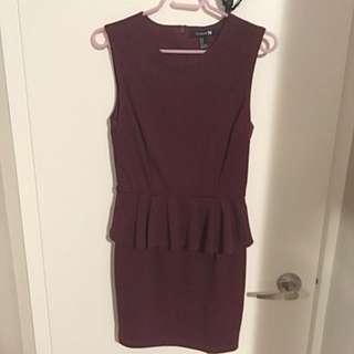 Red/Purple Peplum Dress