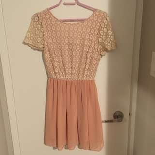 Pink And Cream Lace Crochet Dress